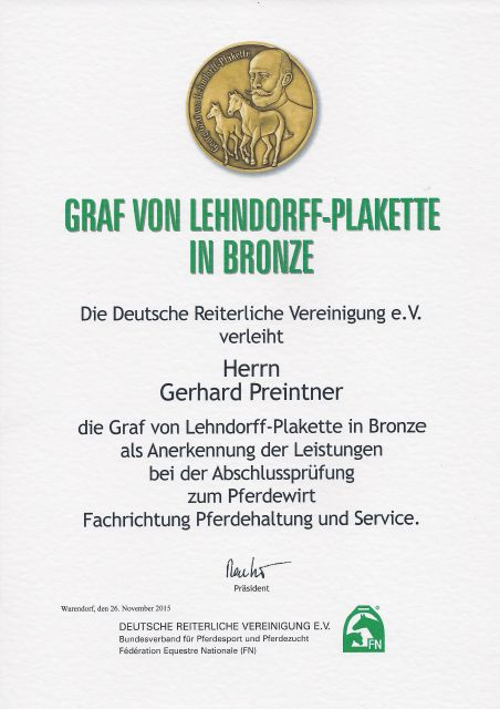 FN Ehrung 2015 in Warendorf - Gerhard Preintner