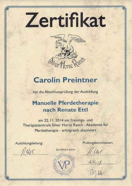 Zertifikat Manuelle Pferdetherapie - Carolin Preintner
