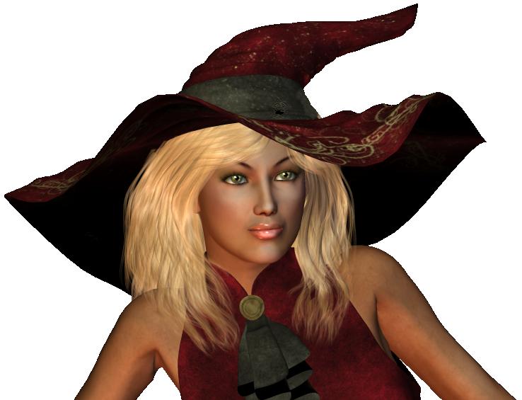 hexe auf Besen Porträs