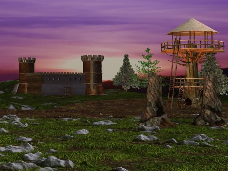 Mittelalter mit Burg und Baumhaus