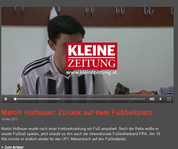 Video Kleine Zeitung vom  ersten Spiel von Martin Hofbauer