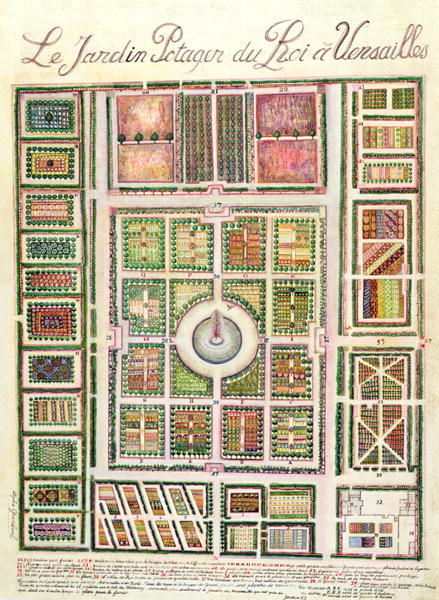 Bildergebnis für Plan of the Potager du Roi, the King's Kitchen Garden, at Versailles