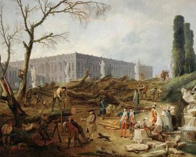 Baumfällarbeiten im Boskett der Apollobäder, um 1775 (Hubert Robert)
