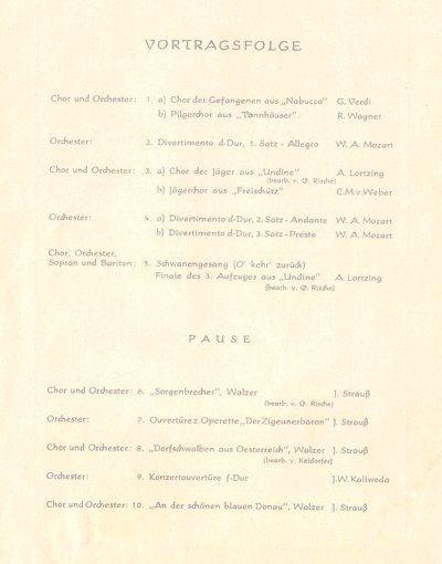 Vortragsfolge Konzert MGV 1888 Essen-Karnap