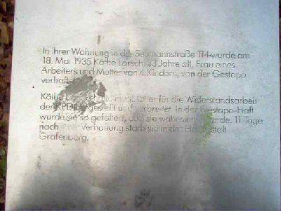 Gedenkstein Käthe Larsch
