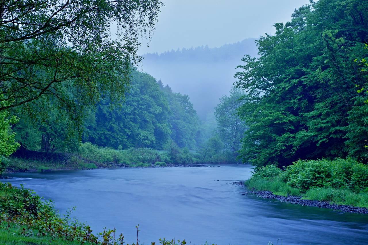 Wupper, Solingen, Balkhauser Kotten, Wasser, Fluß, Langzeitbelichtung, Nacht, 22,30Uhr NRW, Germany