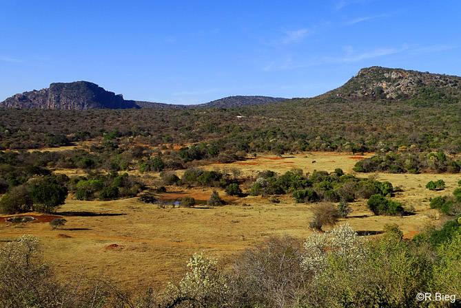Der Blick von der Terrasse auf die Berglandschaft