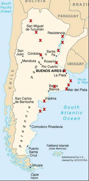 Karte mit Reisesationen