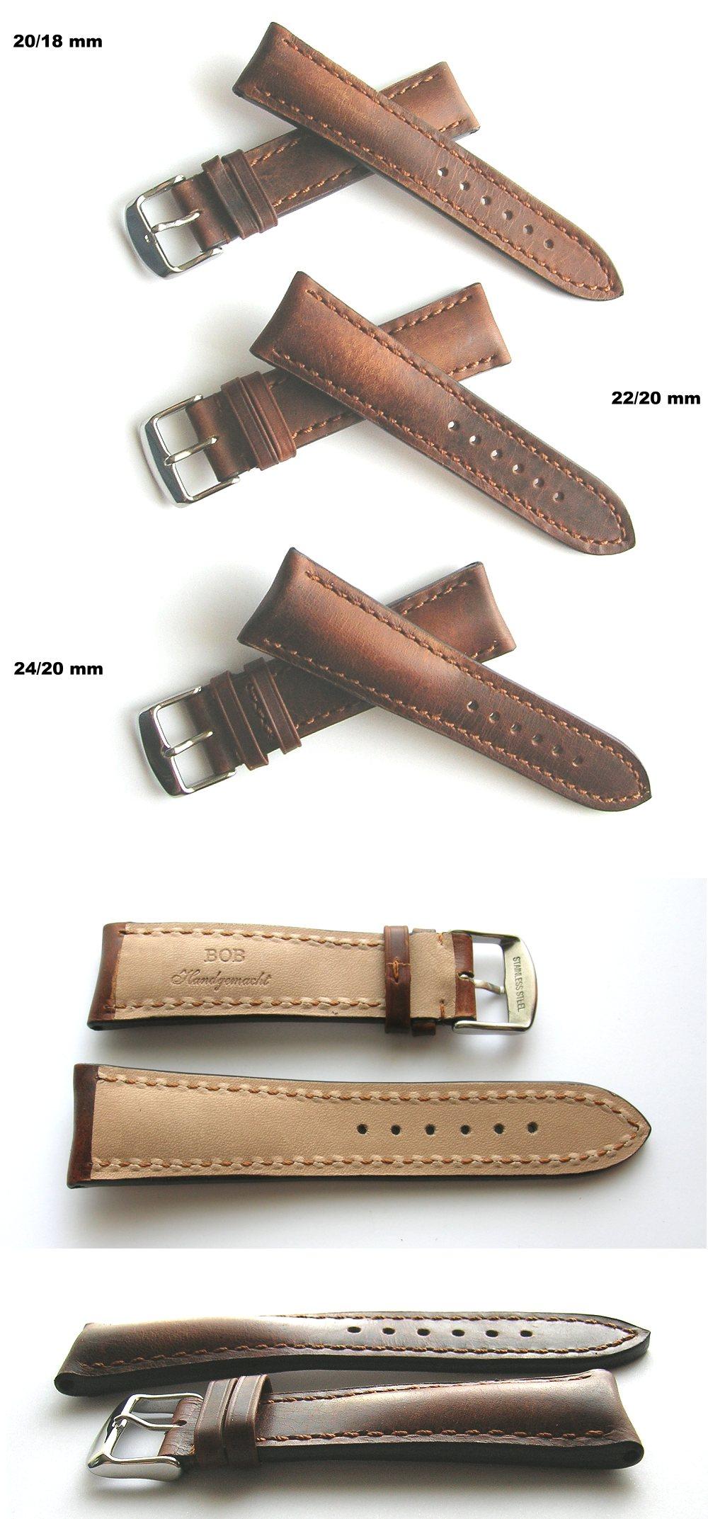 Federstege cognac//braun ohne Naht 20mm inkl Echt Leder *Vintage* Uhrenarmband