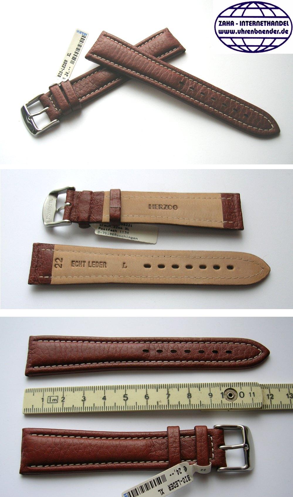 Echt Juchten Bio Lederband 22//18mm braun Deutscher Hersteller