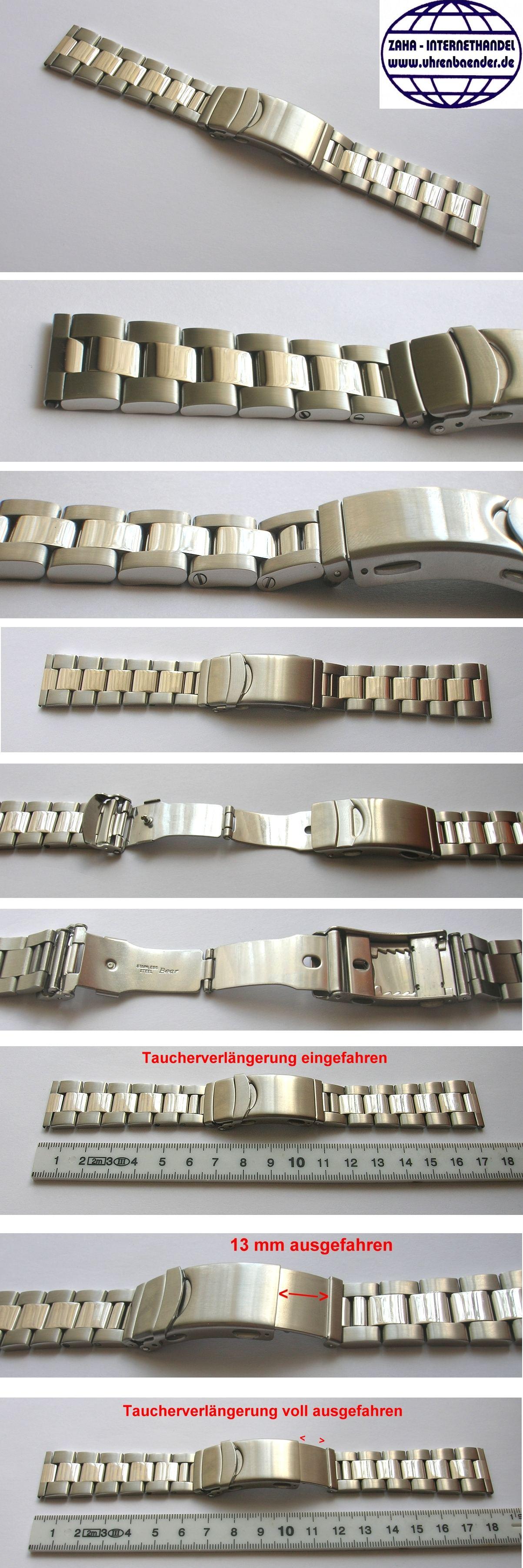 XL Uhrenarmband-Zugband-Flexband-Edelstahlband 10mm Matt oder Glänzend Länge