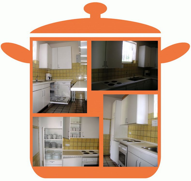Bildcollage von der Küche des Vereinshauses
