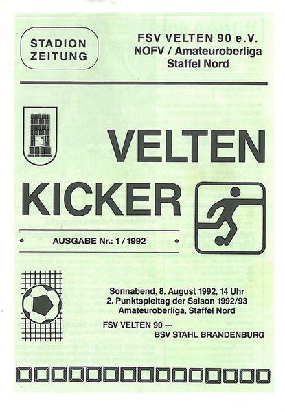 Eisenhüttenstädter FC Stahl Programm 1992//93 Spandauer BC