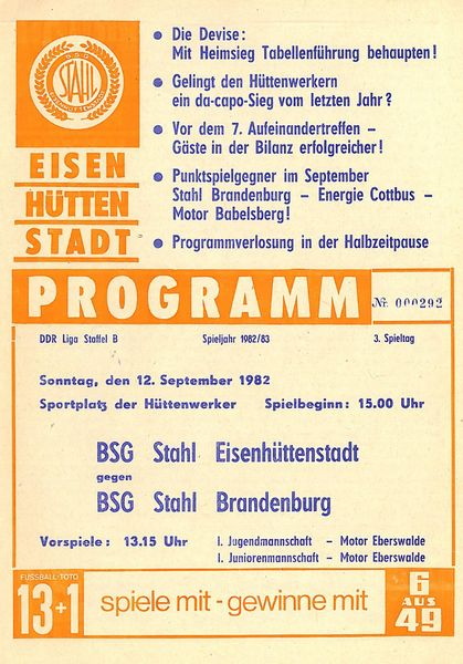 Motor Babelsberg Programm 1982//83 BSG Stahl Eisenhüttenstadt