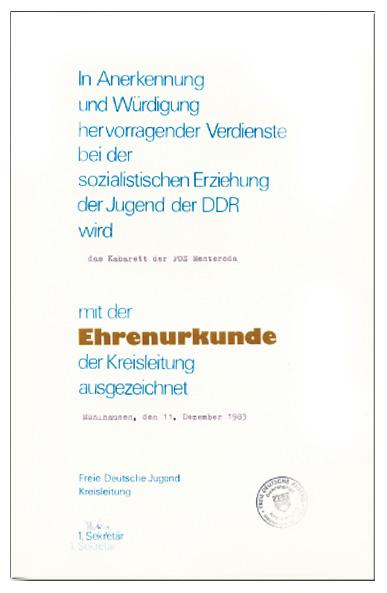 Ehrenurkunde der FDJ-Kreisleitung für die Vielzahl der Auftritte im Kreis