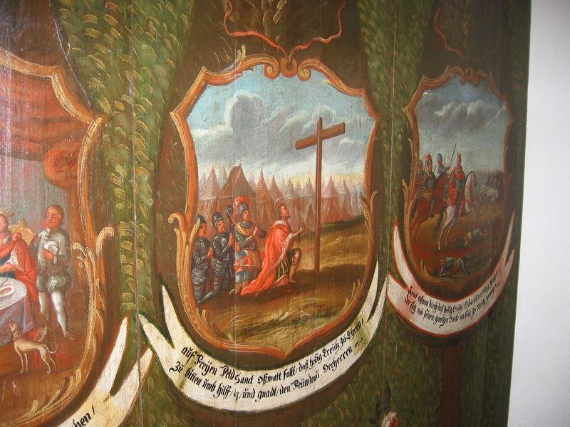 Oswald errichtet das Kreuz u. betet um einen guten Ausgang des Kampfes