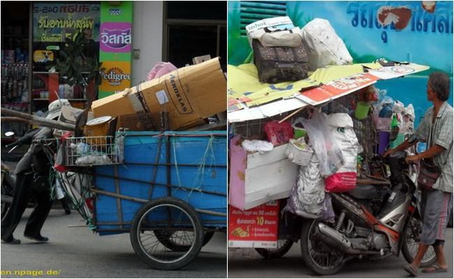 Müllsammler mit Karre