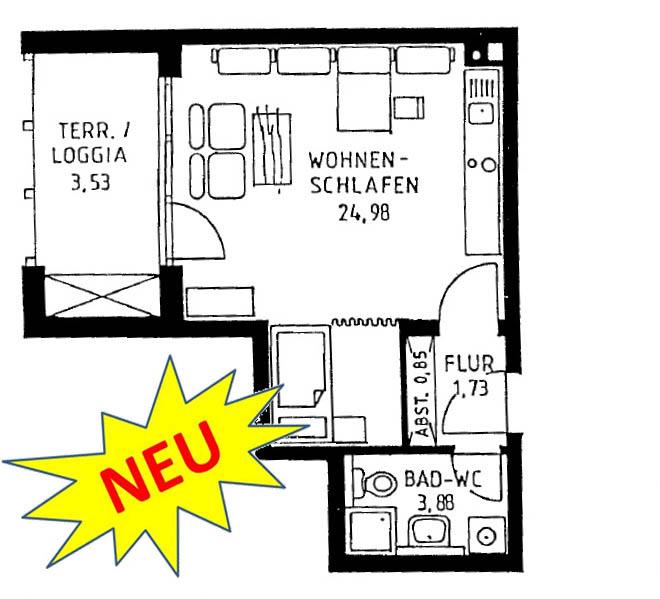 exclusives möbliertes Appartement in Königsbrunn bei Augsburg; Grundriss