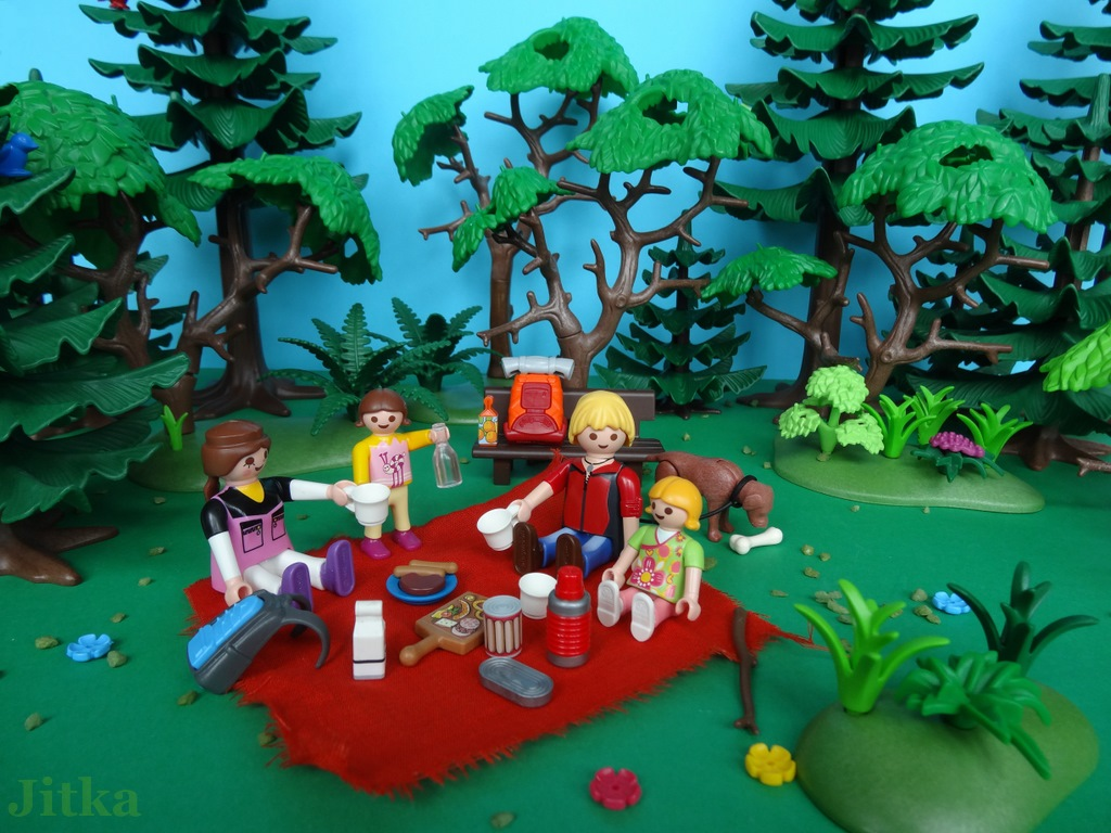 Foto: Die Familie macht ein Picknick auf der Lichtung.