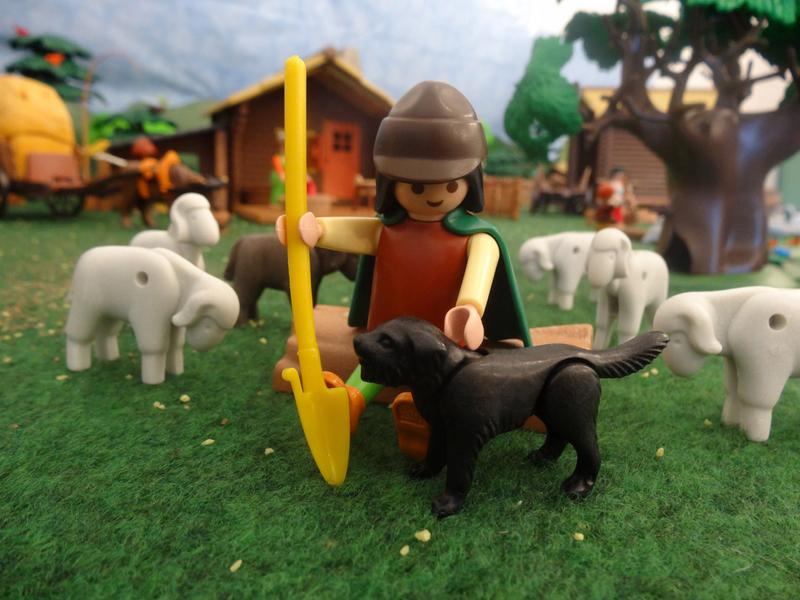 Der Schäfer hüttet seine Schafe.
