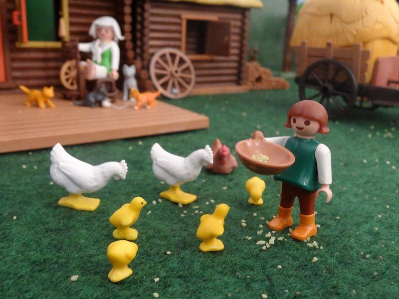 Ein kleines Mädchen füttert die Hühner auf dem Hof.