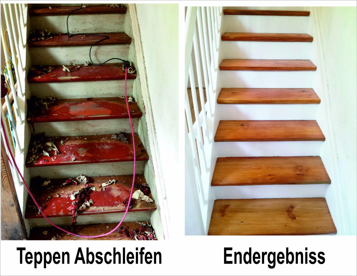 Alte Massivholz Treppe Abschleifen und neu anlegen Treppen-sanierung Treppenaubereitung Treppenerneuerung Firma Baron für alle Fälle