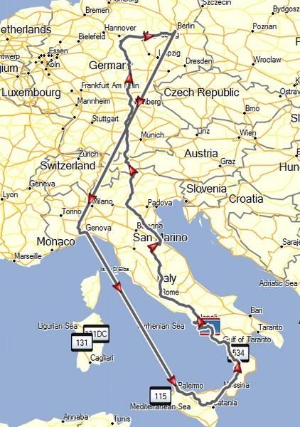 Die Reiseroute - mit dem Autozug Berlin-Alessandria und der Fähre Genua-Palermo