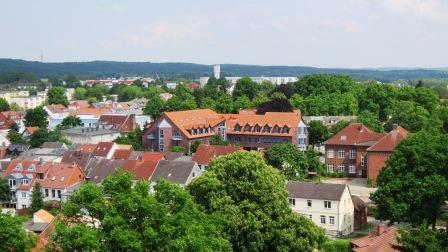 Die Stadt Grevesmühlen von der Kirche aus fotografiert