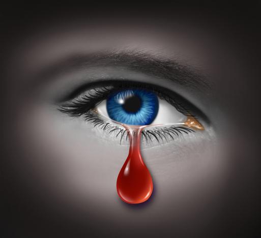 Blaues Auge - Rote Träne