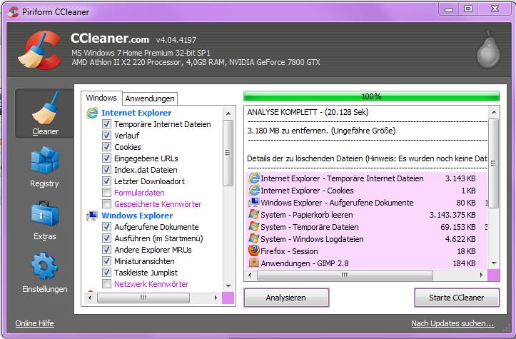 CCleaner Temporäre Dateien löschen