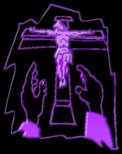 """Grafik: """"Christus am Kreuz"""" - Lila"""