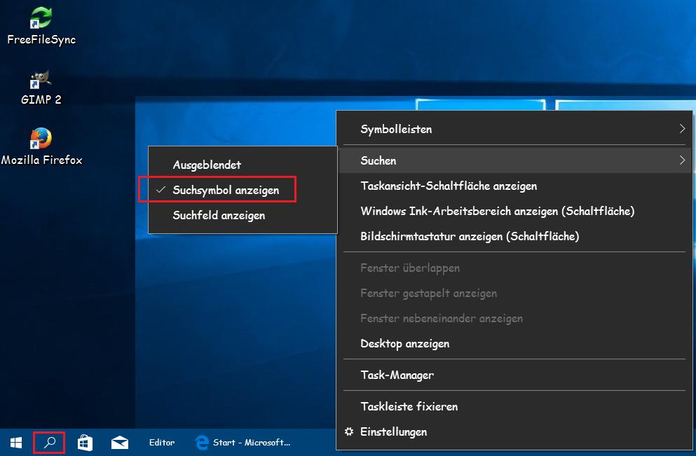 Cortana als Such-Symbol anzeigen