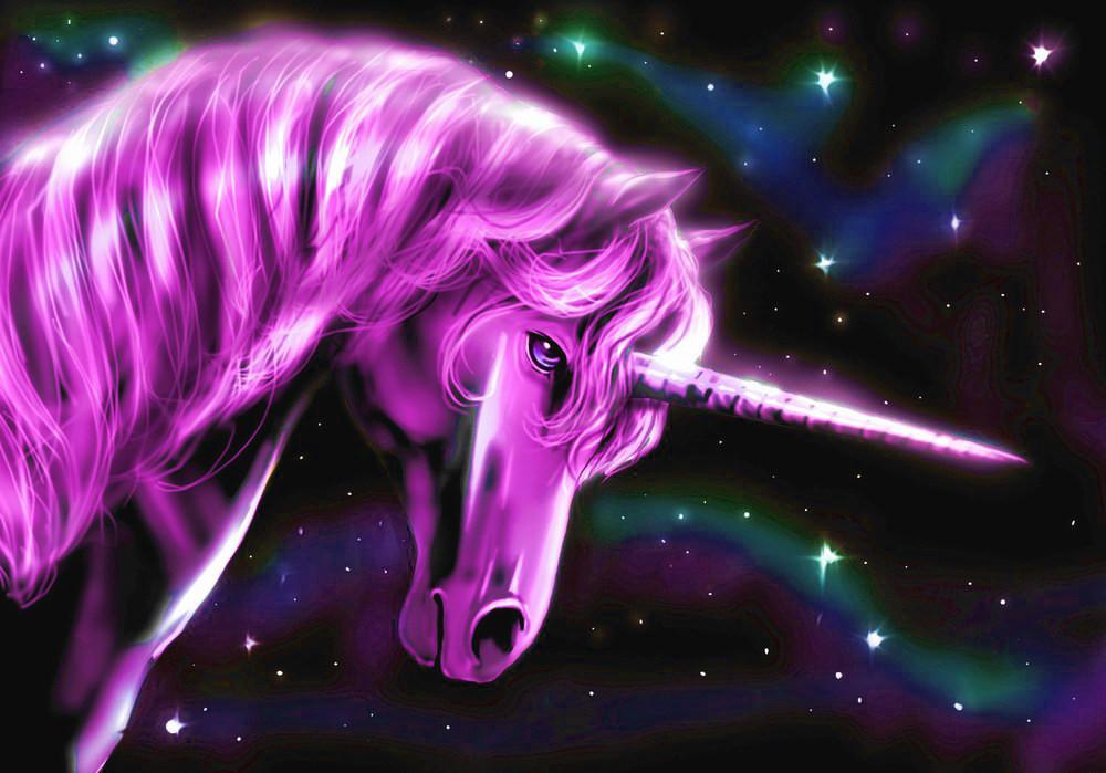 Einhorn pink im Nachthimmel