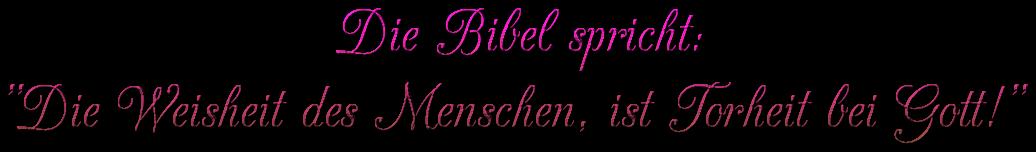 """Schriftzug: """"Die Bibel spricht"""" - Pink"""