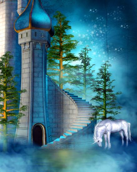 Elfen Schloss mit Einhorn und Sterne