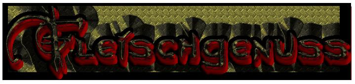 """Schriftzug: """"Fleischgenuss"""" - Schwarz-Rot"""