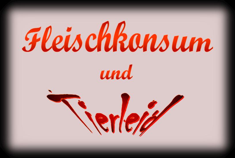 """Überschrift: """"Fleischkonsum und Tierleid"""" - Rot-Schwarz"""