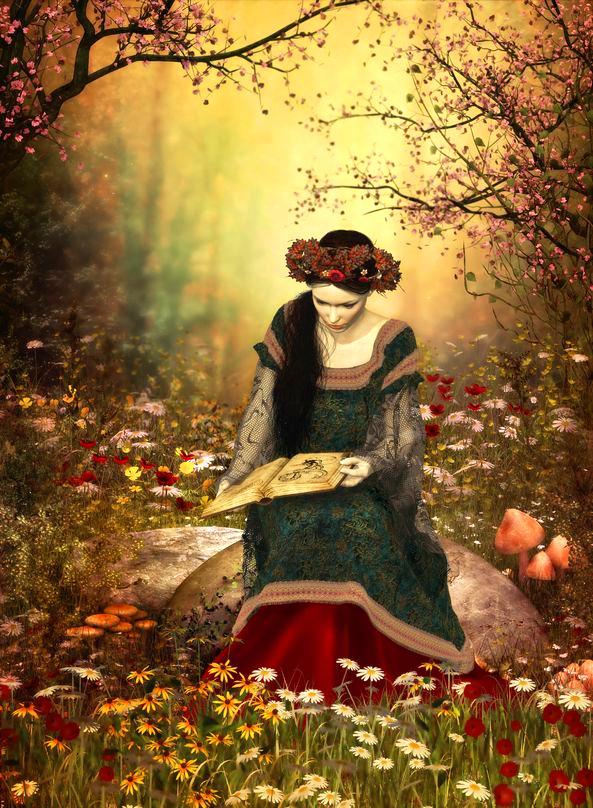Maid mit künstlerischer Waldlektüre