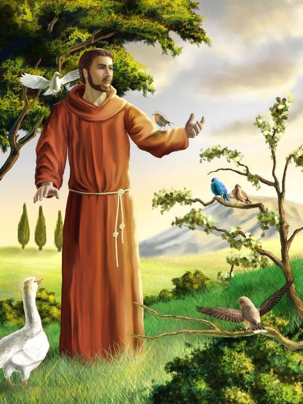 Franz von Assisi spricht mit Vögeln