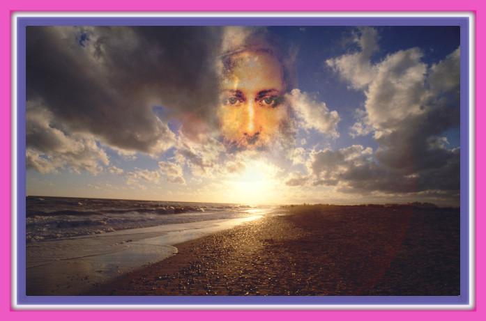 Gesicht Jesus Christus am Himmel