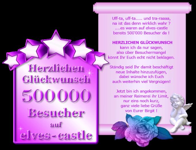 """Grafik: """"Herzlichen Glückwunsch - 500.000 Besucher auf """"elves-castle"""""""