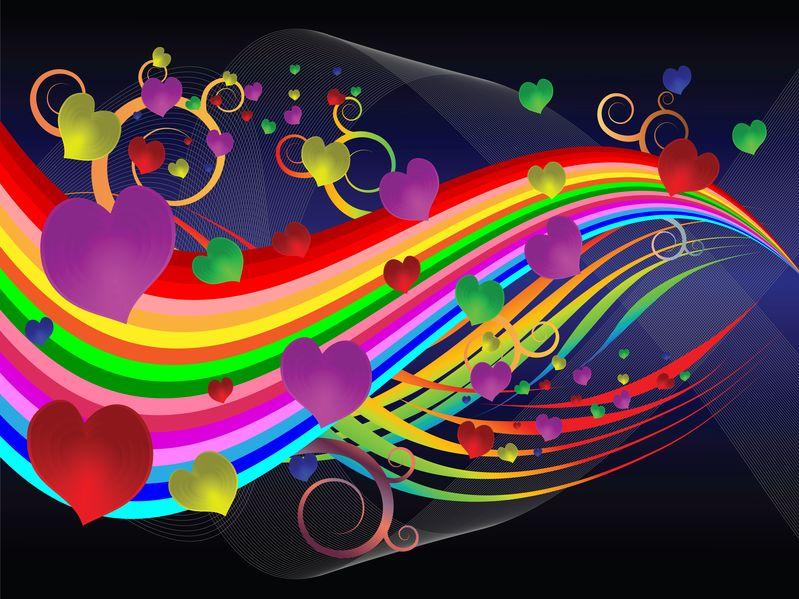 Bunte Homosexuelle Herzen-Harmonie