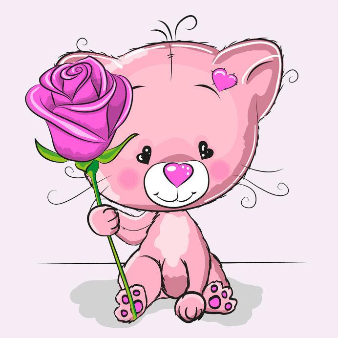 Katze - Herzliches Pink-Rosen-Dankeschön