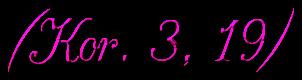 """Schriftzug: """"Kor. 3.,19"""" - Pink"""