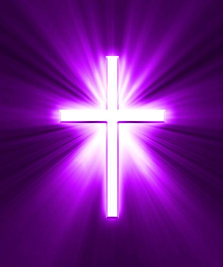 Kreuz im Licht - pink-lila
