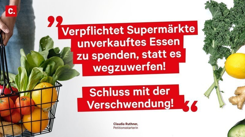 """Petition: """"Lebensmittelverschwendung"""" - Plakat mit Gemüse"""