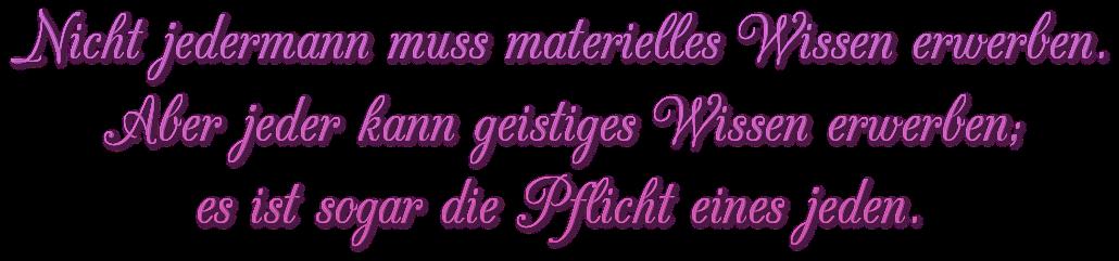 """Schriftzug: """"Geistiges Wissen"""" - Rosa"""