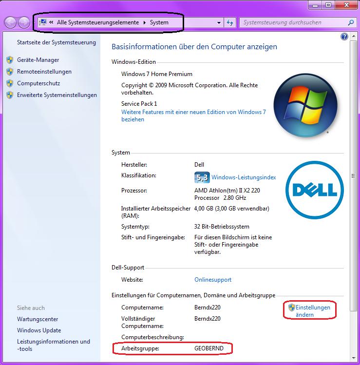 Windows 7 Arbeitsgruppe