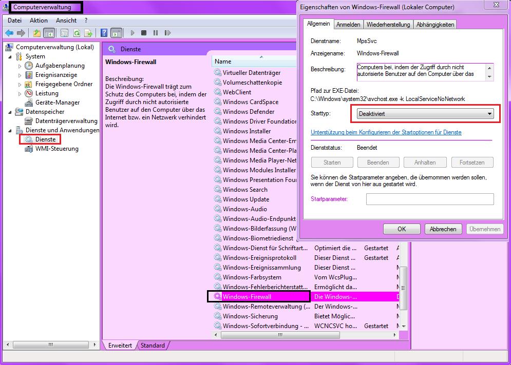Windows 7 Dienste Firewall