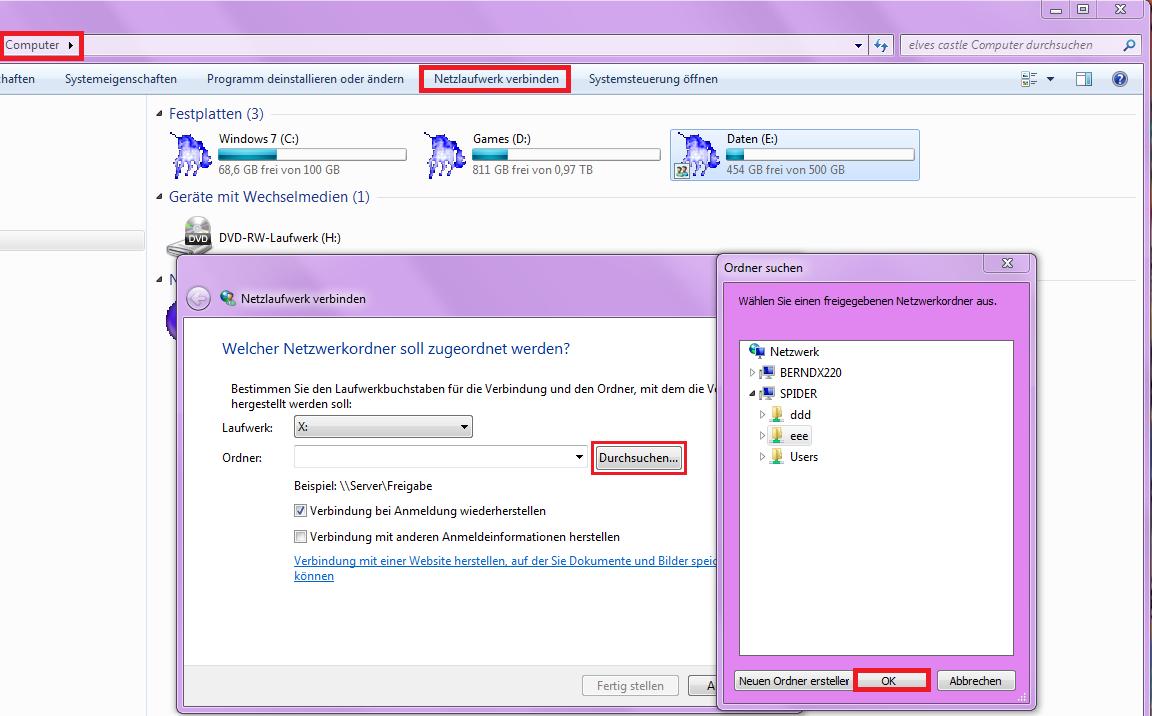 Windows 7 Netzlaufwerk verbinden